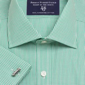 Green Edinburgh Check Poplin Men's Shirt Available in Four Fits