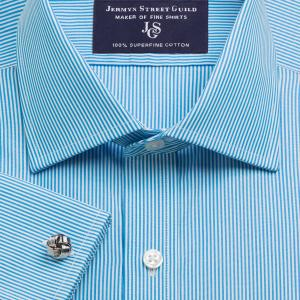 Aqua French Bengal Stripe Poplin Men's Shirt Available in Four Fits
