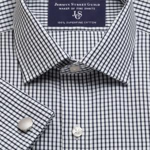 Black Knightsbridge Check Poplin Men's Shirt Available in Four Fits