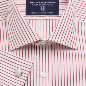 Red Piccadilly Stripe Poplin Men's Shirt Available in Four Fits