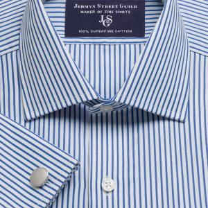 Blue Knightsbridge Stripe Poplin Men's Shirt Available in Four Fits