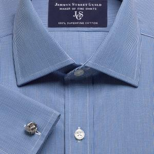 Navy Micro Check Poplin Men's Shirt Available in Four Fits