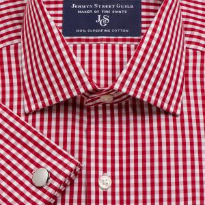 Red Bold Check Poplin Men's Shirt Available in Four Fits