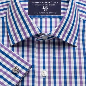 Purple & Navy Buckingham Check Poplin Men's Shirt Available in Four Fits