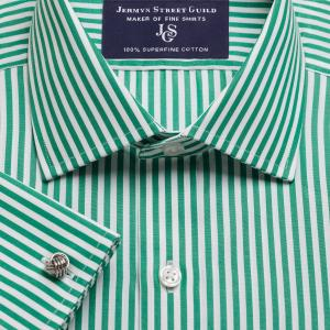 Green Bengal Stripe Poplin Men's Shirt Available in Four Fits