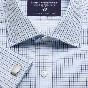 Blue Marylebone Check Twill Men's Shirt Available in Four Fits