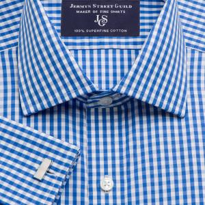 Blue Bold Check Poplin Men's Shirt Available in Four Fits