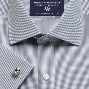 Grey Gingham Check Poplin Men's Shirt Available in Four Fits