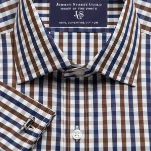 Brown & Navy Buckingham Check Poplin Men's Shirt Available in Four Fits