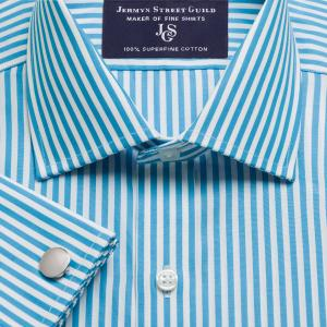 Aqua Bengal Stripe Poplin Men's Shirt Available in Four Fits