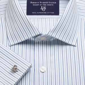 Blue Marylebone Stripe Twill Men's Shirt Available in Four Fits