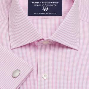 Pink Edinburgh Check Poplin Men's Shirt Available in Four Fits