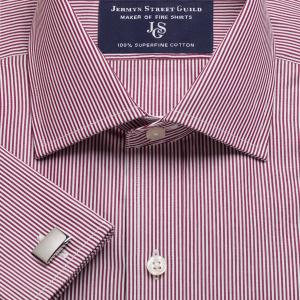 Burgundy French Bengal Stripe Poplin Men's Shirt Available in Four Fits