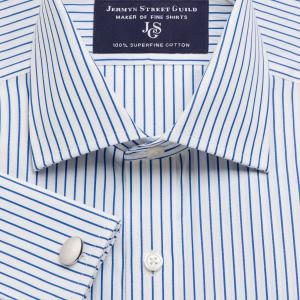 Blue Piccadilly Stripe Poplin Men's Shirt Available in Four Fits