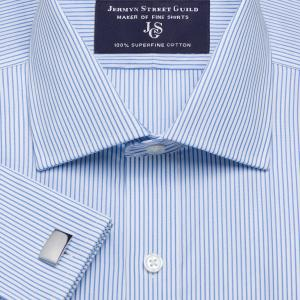Sky Edinburgh Stripe Poplin Men's Shirt Available in Four Fits