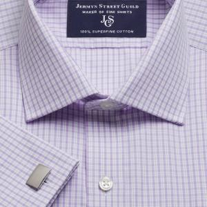 Lilac Kensington Check Poplin Men's Shirt Available in Four Fits