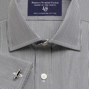 Black French Bengal Stripe Poplin Men's Shirt Available in Four Fits