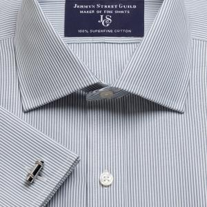 Grey French Bengal Stripe Poplin Men's Shirt Available in Four Fits