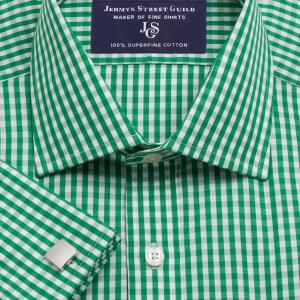 Green Bold Check Poplin Men's Shirt Available in Four Fits