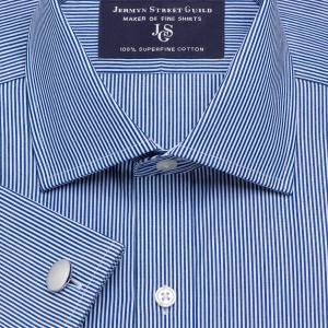 Navy French Bengal Stripe Poplin Men's Shirt Available in Four Fits