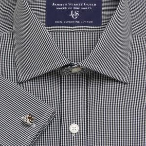 Black Gingham Check Poplin Men's Shirt Available in Four Fits