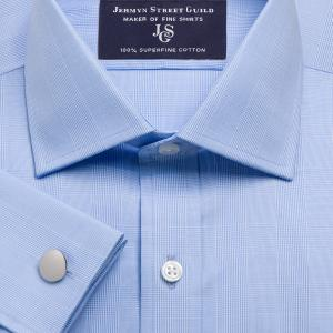 Sky Large Prince of Wales Check Poplin Men's Shirt Available in Four Fits