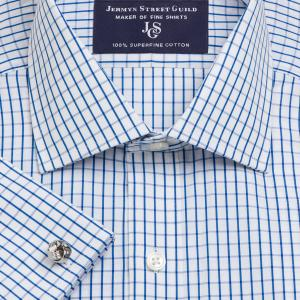 Blue Piccadilly Check Poplin Men's Shirt Available in Four Fits