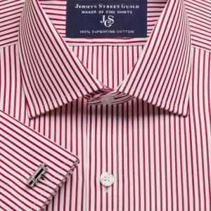 Red Knightsbridge Stripe Poplin Men's Shirt Available in Four Fits