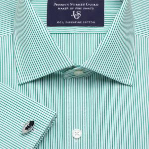 Green Edinburgh Stripe Poplin Men's Shirt Available in Four Fits