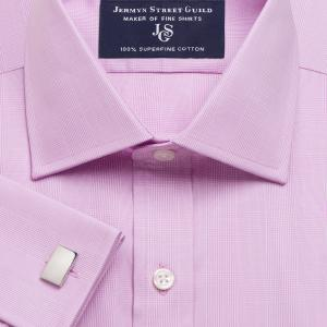 Lilac Large Prince of Wales Check Poplin Men's Shirt Available in Four Fits