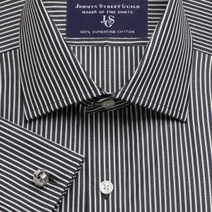 Black Mayfair Stripe Poplin Men's Shirt Available in Four Fits