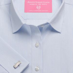 Sky Fine Stripe Poplin Women's Shirt Available in Six Styles
