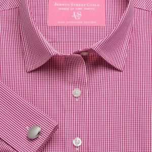Raspberry Gingham Check Poplin Women's Shirt Available in Six Styles