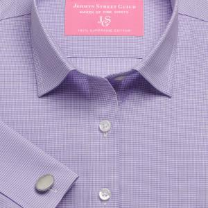 Lilac Houndstooth Check Twill Women's Shirt Available in Six Styles