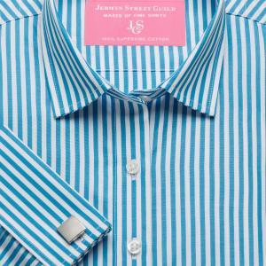 Aqua Bengal Stripe Poplin Women's Shirt Available in Six Styles