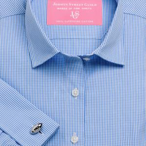 Sky Gingham Check Poplin Women's Shirt Available in Six Styles