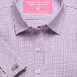 Lilac Prince of Wales Check Twill Women's Shirt Available in Six Styles