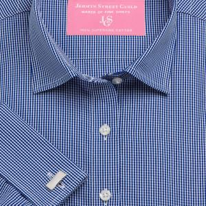 Navy Gingham Check Poplin Women's Shirt Available in Six Styles