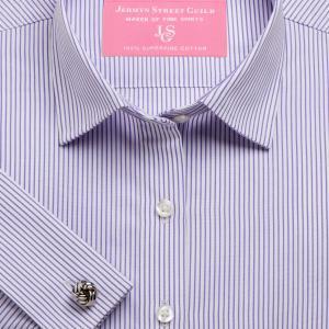 Purple Edinburgh Stripe Poplin Women's Shirt Available in Six Styles