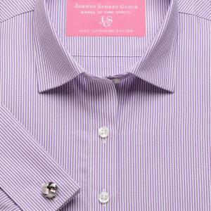 Purple French Bengal Stripe Poplin Women's Shirt Available in Six Styles