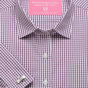 Purple Knightsbridge Check Poplin Women's Shirt Available in Six Styles