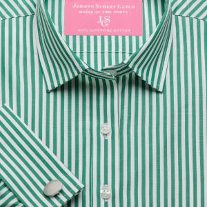 Green Bengal Stripe Poplin Women's Shirt Available in Six Styles