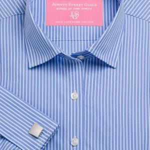 Blue Mayfair Stripe Poplin Women's Shirt Available in Six Styles