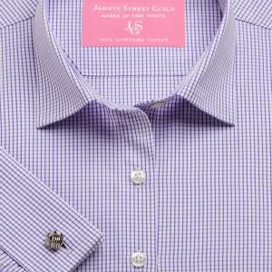 Purple Edinburgh Check Poplin Women's Shirt Available in Six Styles