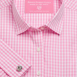 Pink Bold Check Poplin Women's Shirt Available in Six Styles