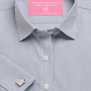 Grey French Bengal Stripe Poplin Women's Shirt Available in Six Styles