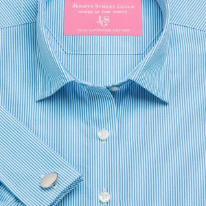 Aqua French Bengal Stripe Poplin Women's Shirt Available in Six Styles