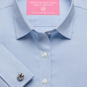 Sky Houndstooth Check Twill Women's Shirt Available in Six Styles
