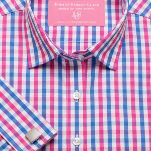 Pink & Blue Buckingham Check Poplin Women's Shirt Available in Six Styles
