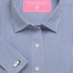 Navy Edinburgh Check Poplin Women's Shirt Available in Six Styles